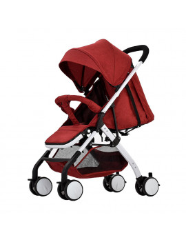 Airplane Baby Stroller One Step Fold Lightweight Convertible Baby Carriage with 5-Point Safety Harness Multi-Positon Reclining Seat Extended Canopy for Infant Toddler Red