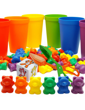 Skoolzy Rainbow Counting Bears with Matching Cups for Stacking, Sorting (71 piece Set) with Storage Bag