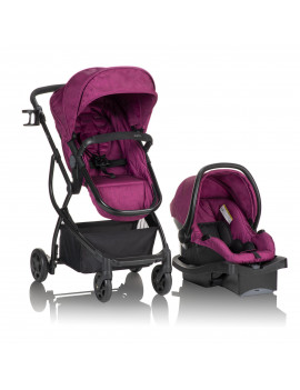 Evenflo Urbini Omni Plus Travel System with LiteMax Infant Car Seat, Raspberry Fizz Pink