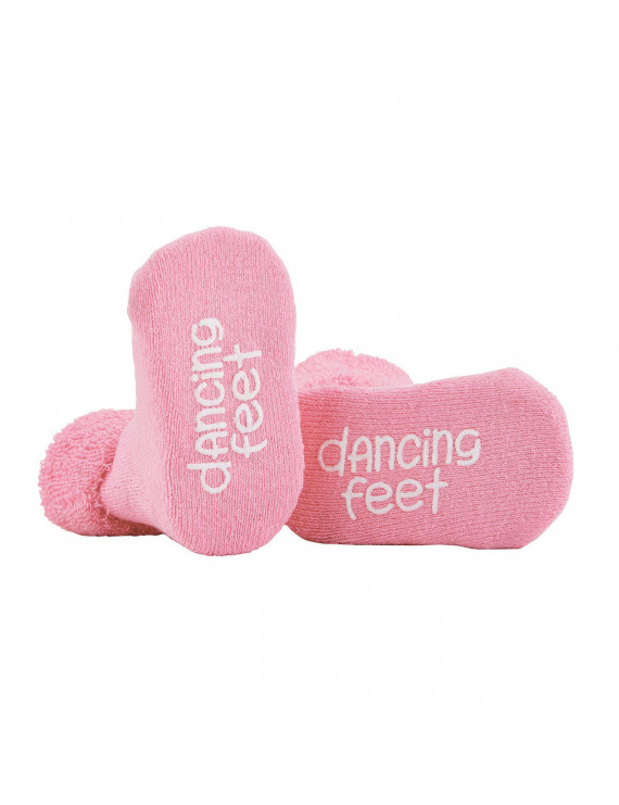 Dancing Feet Soft Pink 3 - 12 Months Cotton Terry Cloth Fabric Infant Socks