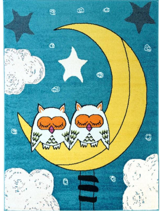 "Ladole Rugs Adorable Cute Durable Soft Modern Moda Collection Kids Area Rug Carpet with Sky Theme and Owls in Blue, 3'9"" x 5'2"" (115cm x 160cm)"
