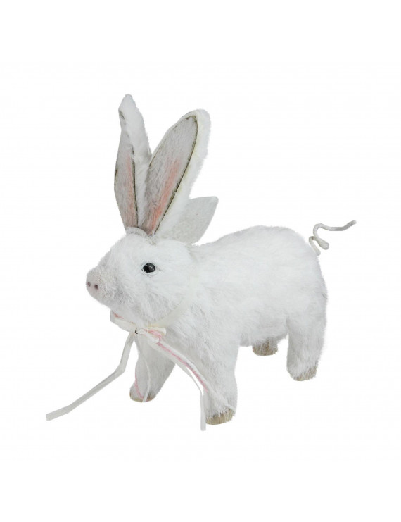 "Northlight 8.5"" Sisal Piglet with Easter Bunny Ears Spring Figure - White"