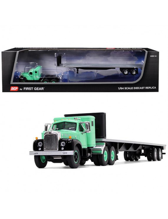 Mack B-61 with Sleeper Cab and 48' Flatbed Trailer Antique Green 1/64 Diecast Model by DCP/First Gear