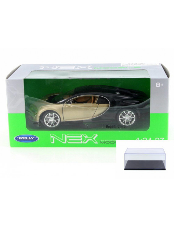 Diecast Car & Display Case Package - Bugatti Chiron,  Gold w/ Black - Welly 24077W-GLD - 1/24 Scale Diecast Model Toy Car w/Display Case