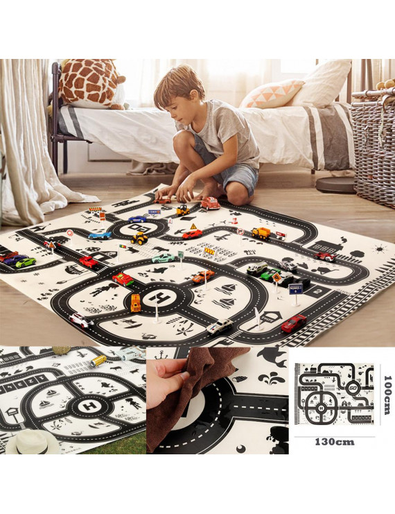 Kids Play Mat City Road Buildings Parking Map Game Educational Toys Baby Gyms