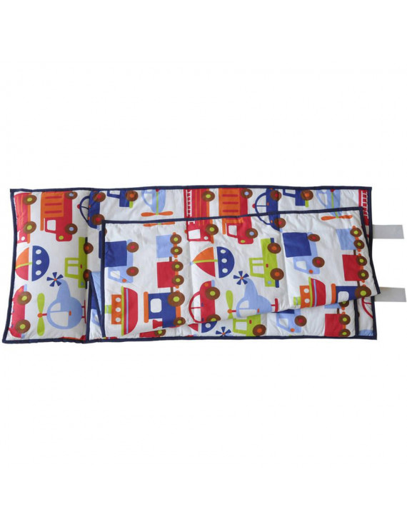 Bacati - Transportation Print Toddler Nap Mat in Blue, 100% Cotton Percale with attached pillow, size 20 x 50 inches