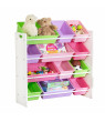 Honey Can Do Kids Toy Organizer with 12 Storage Bins, White