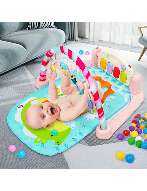 Baby Activity Gym Playmat with Piano Newborn Infant Play Gym Kick and Play Toy for Baby 1-36 Month