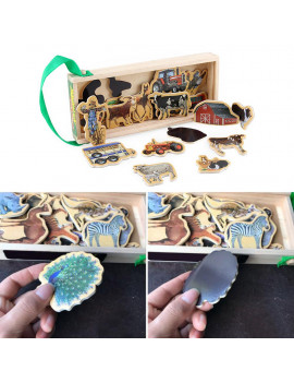 20pcs Wooden Refrigerator Magnet Fridge Stickers Animal Number Cartoon Colorful Kids Toys for Children Baby