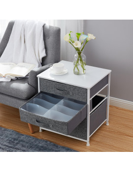 3 Drawer Nightstand Storage Dresser Tower - White Wood Top - Sturdy Metal Frame - Linen Fabric Storage Bins with Pull Tabs - Organizer Unit for Hallway, Entryway, Closets and Bedroom -Gray