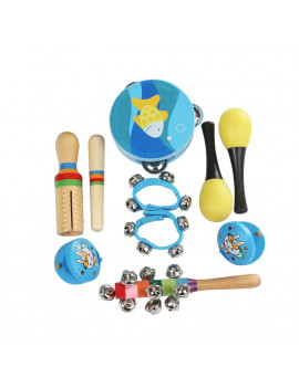 10pcs/set Musical Toys Percussion Instruments Band Rhythm Kit Including Tambourine Maracas Castanets Handbell Wooden Guiro