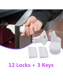 (12 Locks + 3 Keys) Magnetic Cabinet Locks Child Proof Baby Safety Set - No Tools Or Screws Needed
