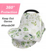 Amerteer Nursing Cover, Car Seat Canopy, Shopping Cart, High Chair, Stroller and Carseat Covers for Boys or Girls- Best Stretchy Infinity Scarf and Shawl- Multi Use Breastfeeding Cover-Green Leaf