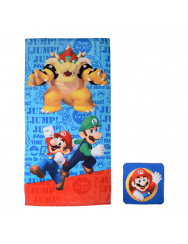 Super Mario 2-Piece Bath Towel and Wash Cloth Set, 100% Soft Terry Cotton