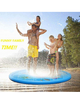 """(68"""") Inflatable Splash Sprinkler Pad for Kids Toddlers , Kiddie Baby Pool, Outdoor Water Mat Toys - Baby Infant Wading Swimming Pool - Fun Backyard Fountain Play Mat for 1 -12 Year Old Girls Boys"""