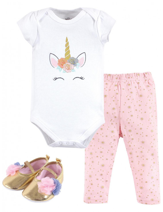Little Treasure Baby Girl Bodysuit, Pant & Shoe