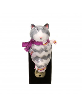 Animal Cat Nightlight Plastic Grey Chevron Stripes 146236