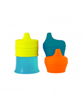 Boon Snug Silicone Sippy Cup Spout Lids And Sippy Cup, Blue, Orange And Green, 4 Pk