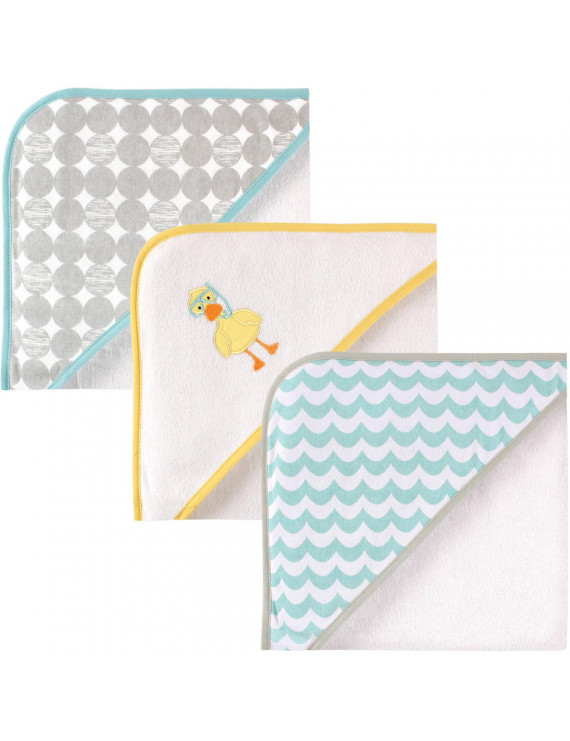 Luvable Friends Baby Hooded Towel, Scuba Duck, 3 Pack