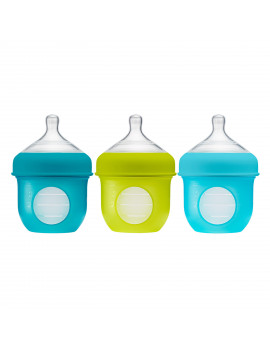 Boon Nursh Reusable Silicone Pouch Baby Bottle, Air-Free Feeding, Blue Multi Pack 4 Oz 3 Pk