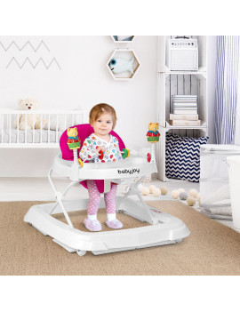 Baby Walker Adjustable Height Removable Toy Wheels Folding Portable 3 Colors