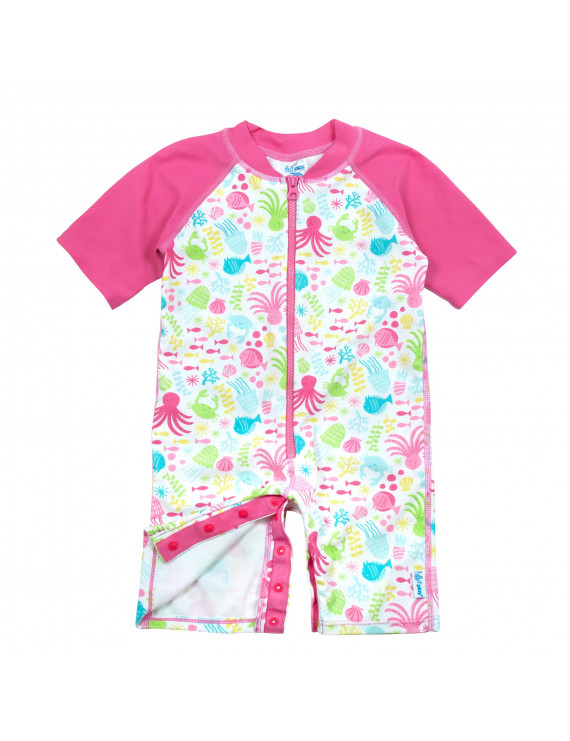 i play. Baby Girls One-Piece Sunsuit Rashguard Swimsuit, UPF 50+