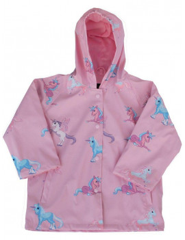 Foxfire Little Girls Pink Blue Unicorn Print Hooded Lined Raincoat