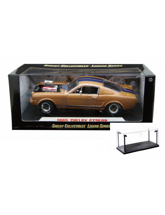 Diecast Car & LED Display Case Package - 1965 Shelby GT 350R Hard Top, Gold - Shelby SC179G - 1/18 scale diecast model car w/LED Display Case