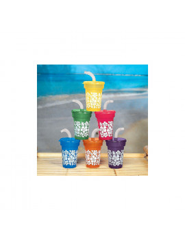 Hibiscus Print Mini Sipper Cups - Party Supplies - 12 Pieces