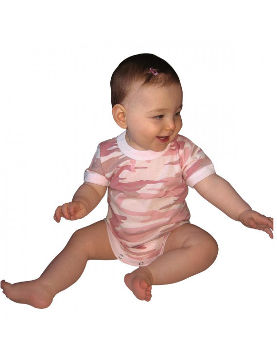 Baby Pink Camo One-piece Bodysuit Infant Size 9-12 Months