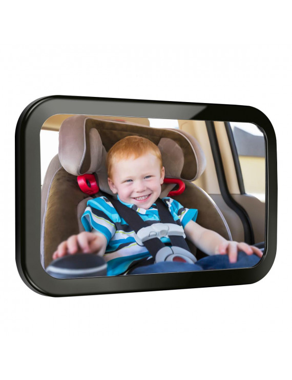 Baby Car Mirror, Back Seat Baby Mirror, Safety Certified Shatter-Proof Acrylic Baby Mirror for Car, Crash Tested Clear Reflection Rearview Mirror, Wide Convex Glass