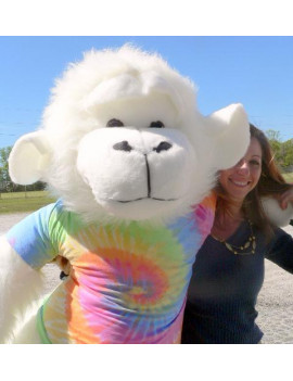 American Made Giant Stuffed White Gorilla 6 Foot Soft Big Plush Monkey Wears Rainbow Tie Dye T-Shirt