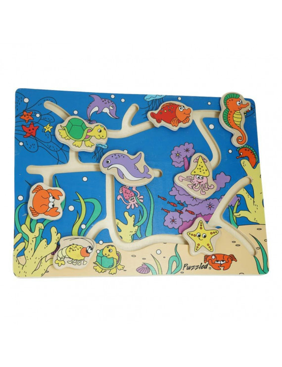 Wooden Puzzle Maze for Toddlers and Kids Educational Toy, Ocean Animals