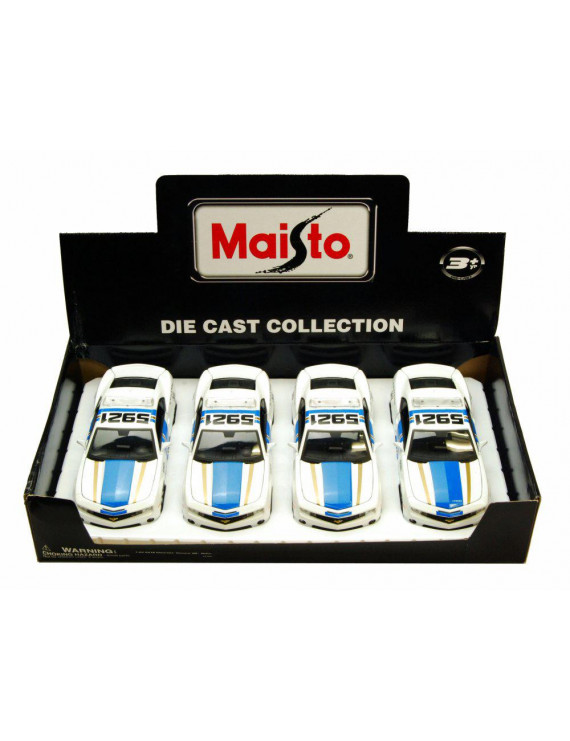 Box of 4 Diecast Model Cars - 2010 Chevrolet Camaro Police, White with Blue & Gold, 1/24 Scale