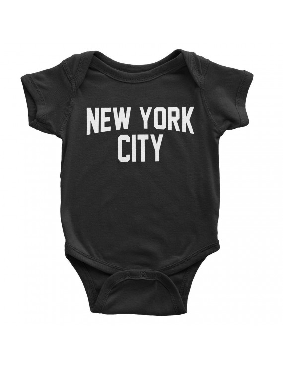 New York City Baby Bodysuit Screen Printed Soft Cotton Snapsuit (Black, 12m)
