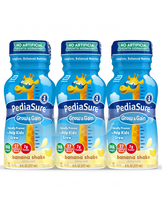 PediaSure Grow & Gain Kids Nutritional Shake, with Protein, DHA, and Vitamins & Minerals, Banana, 8 fl oz, 6 Count