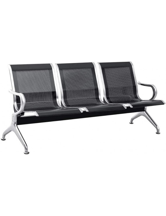 SUNCROWN 3 Seat Airport Reception Chairs Waiting Room Chair with Arms, Metal Reception Bench Seating, Lobby Chairs for Business Office Hospital Bank Airport Market (Black)