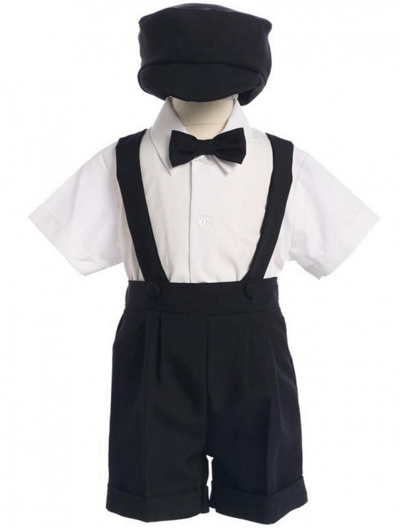Lito Baby Boys Black Bow Tie Hat Suspendered Short Shirt Clothing Set