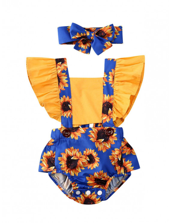 Newborn Baby Kids Girl Sunflower Romper Jumpsuits+Headband Outfit Set Clothes