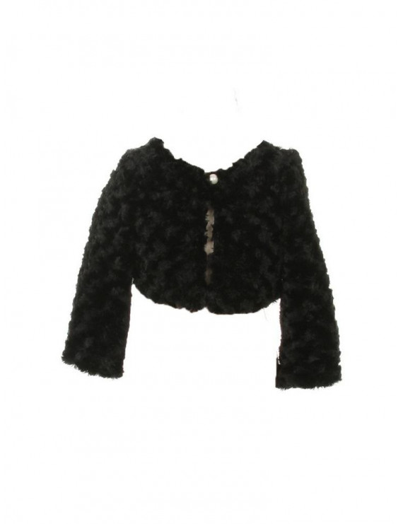 little girls black faux fur long sleeve pearl bolero jacket 2t