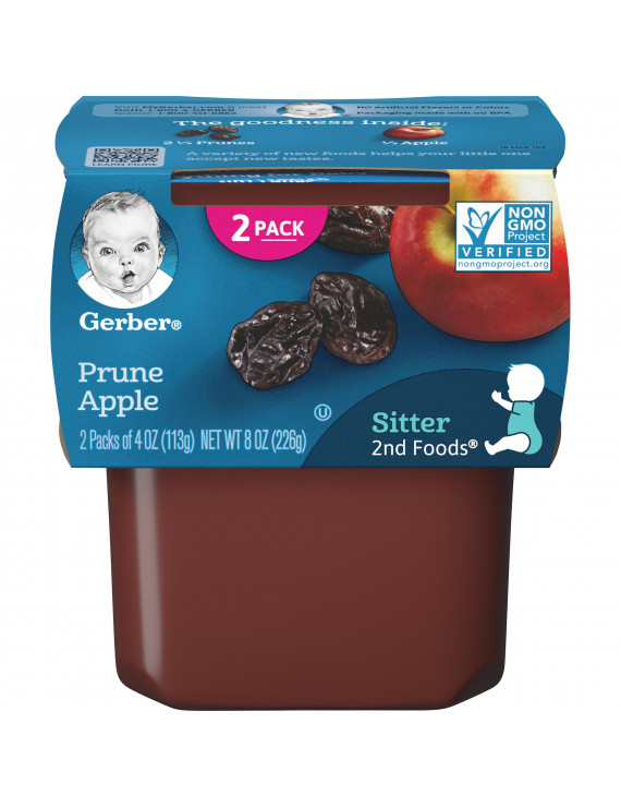 (Pack of 8) Gerber 2nd Foods Baby Food, Prune Apple, 2-4 oz Tubs