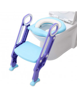 AUGIENB Kids Baby Toilet Potty Training Children Safety Toilet Trainer Seat Soft Padded Seat with Non-Slip Step Stool Ladder, Foldable Wide Step, Safety Handles for Boys and Girls