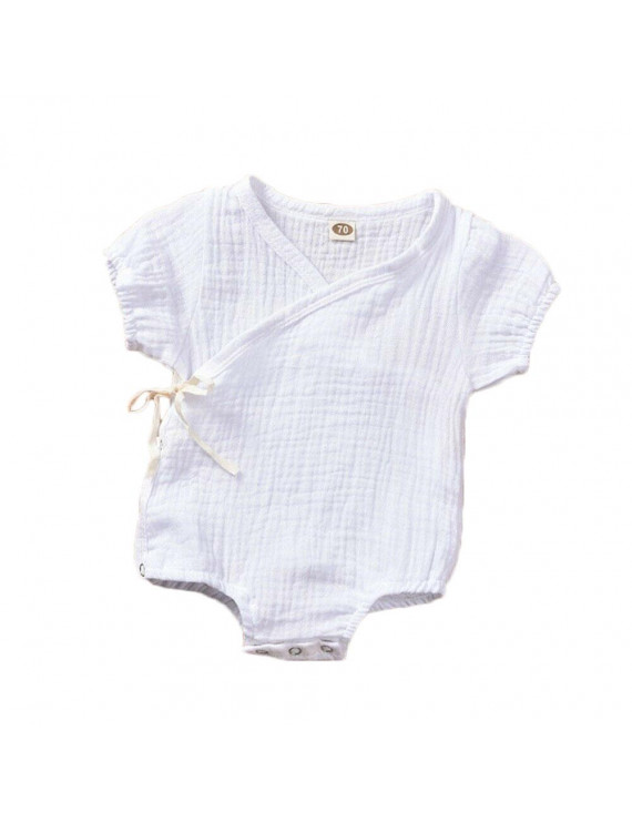 Infant Baby Girls Boys Cotton Linen Side Snap Bodysuit One Piece Romper Baby Outfits