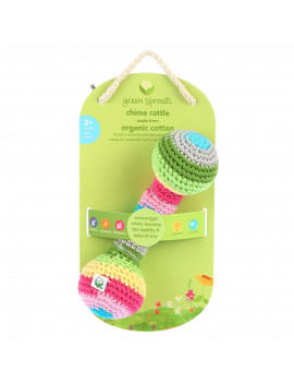 green sprouts Chime Rattle made from Organic Cotton-Multicolor-3mo+