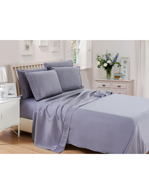 Lux Decor Collection Solids Bed Sheet Set (Queen, Dark Grey), 4 Piece Deep Pocket 1800 Series Microfiber Bed Sheet Set Contains (1 Fitted Bed Sheet, 1 Flat Sheet, 2 Pillow Covers)