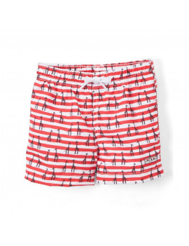 Azul Baby Boys Red Giraffe Print Elastic Band Drawstring Swim Shorts