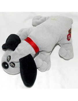 "1986 vintage newborn pound puppies plush 7"" gray puppy with long black ears"