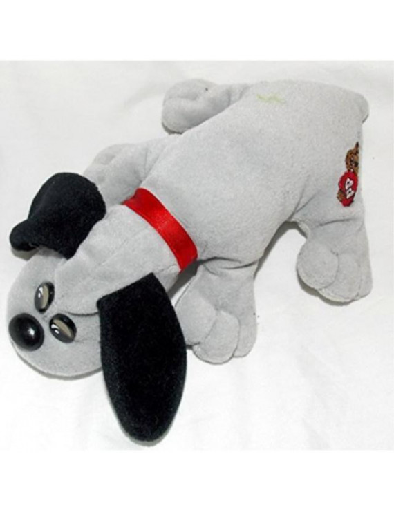 """1986 vintage newborn pound puppies plush 7"""" gray puppy with long black ears"""