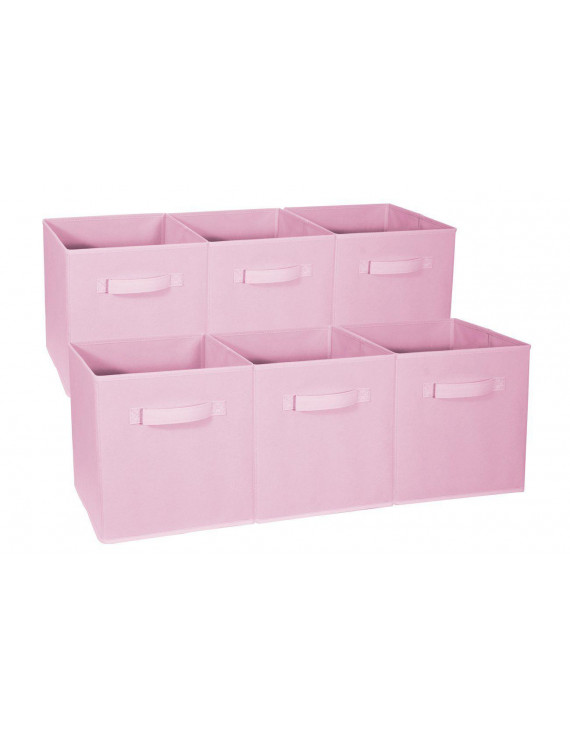 VGEBY Set of 6 Fabric Storage Bins Cubes Baskets Containers with Dual Plastic Handles for Home Closet Bedroom Drawers Organizers, Flodable
