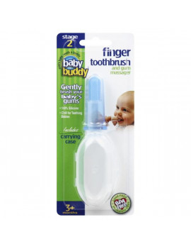 Brilliant Baby Finger Toothbrush with Case, Soft Silicone Gum Massager and Teether Brush for Babies and Toddlers